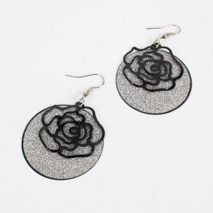 Rose double layer frosted earrings